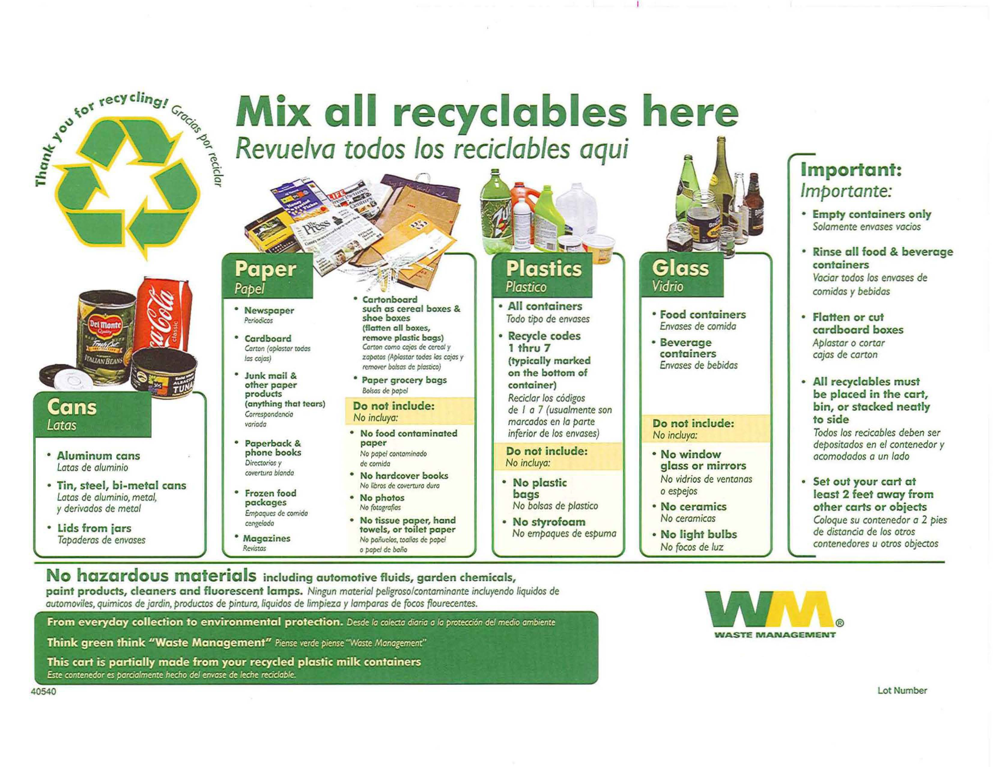 WASTE MANAGEMENT RECYCLABLES